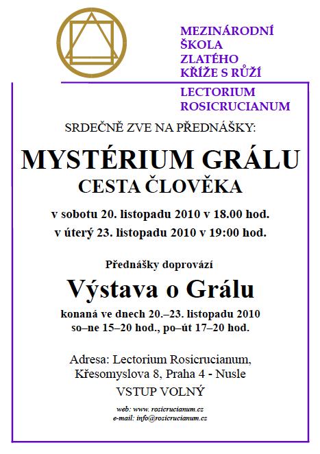"""Přednáška """"Mystérium Grálu"""" Praha 20. a 23.11."""