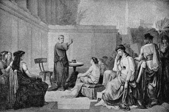 Pythagoras vyučuje ve své škole. Vpředu je Theano, jeho vynikající žákyně, se kterou se později oženil.