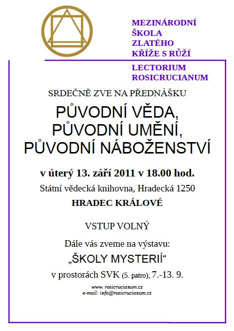 Původní věda, původní umění, původní náboženství - Hradec Králové