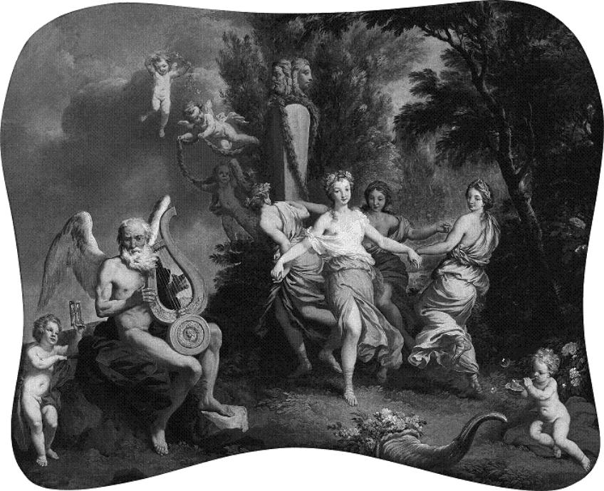 Tanec na hudbu času, malby z 18. stol. ze školy francouzského barokního malíře Laurenta de la Hyre (1606–1656)